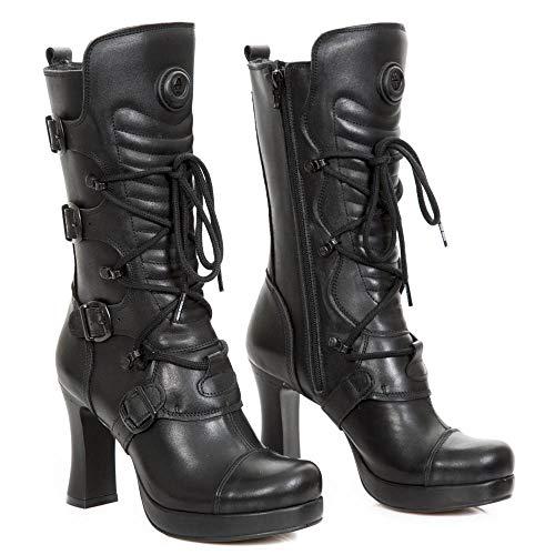 Lace S2 Punk New Rock Boots Rock Up GOTH5815 Closure Heavy Leather Gothic Heel Urban Ladies Women's Black Zip Buckle M qZvqFwtnA