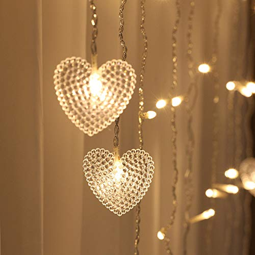 Tuscom 2M x 1.5M 124 Lights Love LED Lights   Lover Heart Curtain Lights Wedding Room Decoration White Ice Curtain Lamp Light String Airy Outdoor Xmas Garden Decor Lamp (Yellow) by Tuscom@ (Image #1)