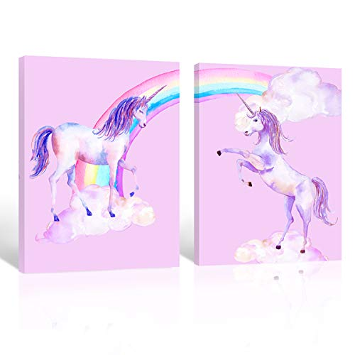 Purple Verbena Art 2 Panels Sweet Pink Rainbow Unicorn Picture Prints on Canvas Walls Artwork Paintings, Stretched Framed 12x16 Inches Modern Giclee Walls Painting Kid's Room Decoration