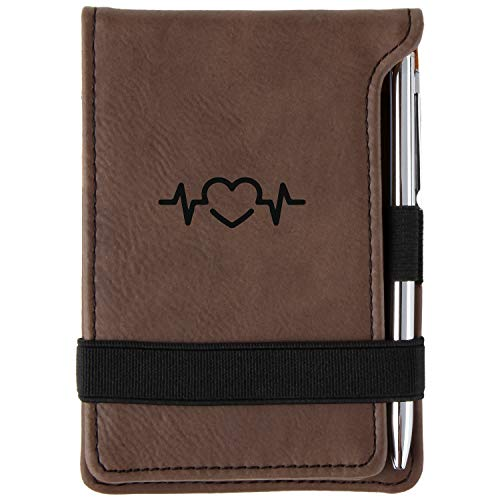 Heartbeat Engraved Leather Personalized Mini Notepad With Pen