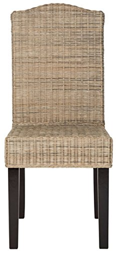 Safavieh Home Collection Odette Grey Wicker Dining Chair (Set of 2), 19