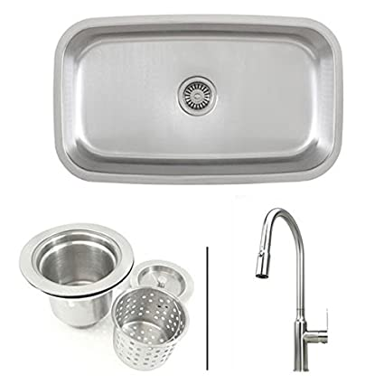 Inch Stainless Steel Single Bowl Kitchen Sink And Lead Free - Kitchen sink and faucet combo