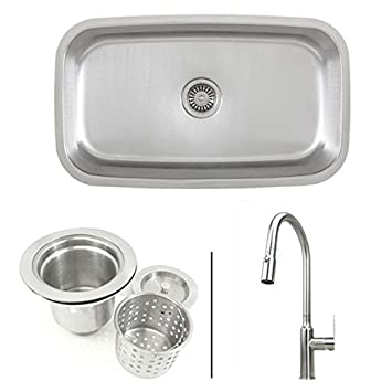 30 Inch Stainless Steel Single Bowl Kitchen Sink And Lead Free Faucet Combo 18 Gauge