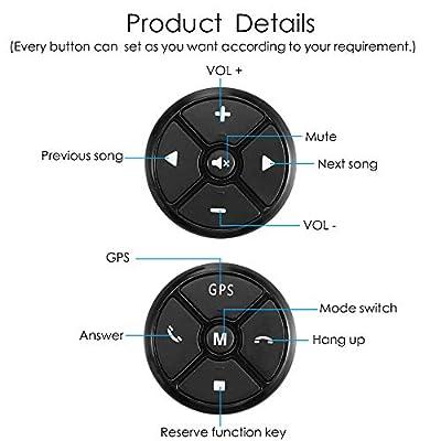 PolarLander Universal Wireless Car Steering Wheel Controller 4 Key Music DVD GPS Navigation Steering Wheel Radio Remote Control Buttons Black: Automotive