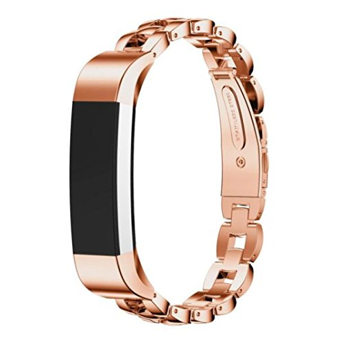[Welcomeuni Replacement Watch Band Stainless Steel Band Strap Bracelet For Fitbit Alta Smart Watch (Rose] (Link Dog Costumes)