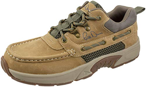 Rugged Shark Bill Dance Pro Boat Shoe, Premium Leather and Comfort, Fishing and Outdoor Shoe, Tan, Men's Size 13