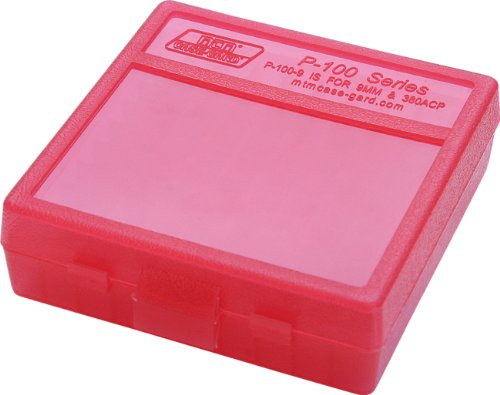 MTM 100 Round Flip-Top Ammo Box 380/9MM Cal (Clear Red)