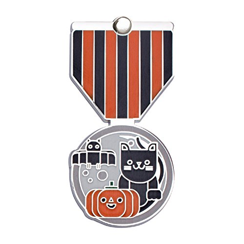 HALLOWEEN Greeting Card & Gift (Lapel Pin / Necklace Charm) Holiday Thank You Note by Merit Medals (Halloween Pumpkin Note Cards)