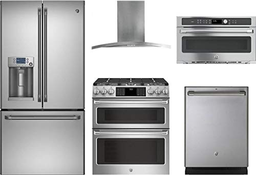 (GE Cafe 5-Piece Stainless Steel Kitchen Package CFE28TSHSS 36