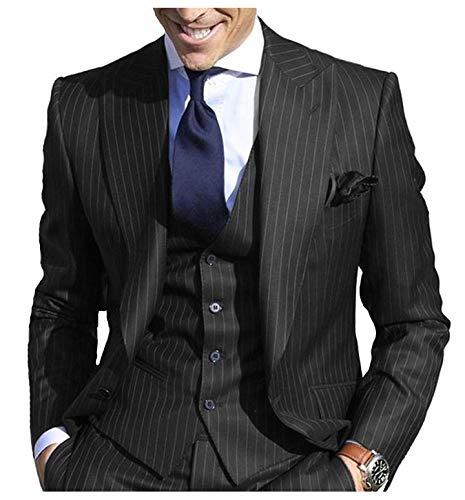 JYDress Men's Pinstripe Suit Slim Fit Stripe Peaked Lapel Jacket Vest Pants Sets Black ()