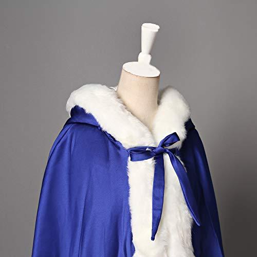 Longue Manteau Blue Femme Mariée Capuchon À Beautelicate Cape Capuche Royal De Chaude Mariage Fourrure pSyqTa