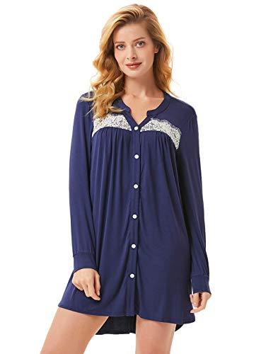 Lovely Lace Cotton Pajamas - Women Soft Modal Pajama Top Irregular Hem Sleepwear Lounge Dress Navy Blue XL