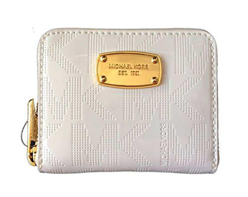 Michael Kors White Mirror PVC Zip Around Bifold - Michael Burberry