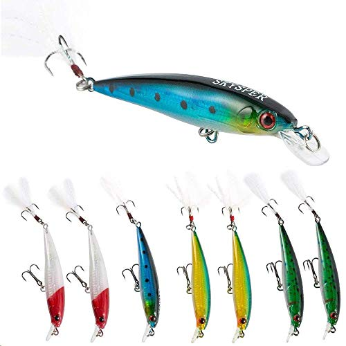Skysper Fishing Lure Kit 8 Pcs Hard Bait Plastic with Feather Crank Baits Lifelike Minnow Swimbait for Saltwater and Freshwater 3,54 ''/ 0.25 oz