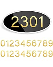 Acrylic House Address Plaques House Mailbox Numbers Personalized Address Signs with 20 Pieces House Numbers for House Home Hotel Office Garden Decorative Wall Plaque (Ellipse Shape)
