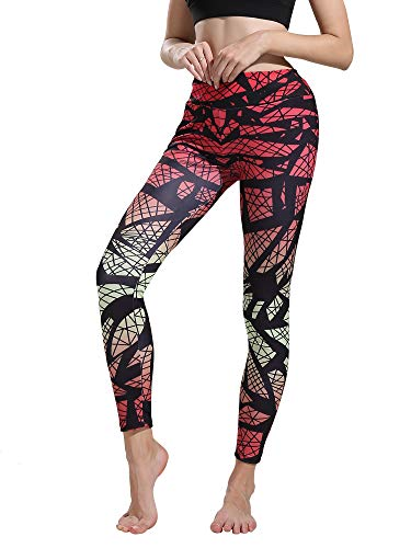 Helisopus Women's Printed Fit Compression Yoga Pants Power Stretch Active Workout Leggings Tights ()