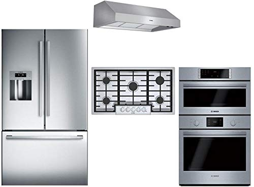 "Bosch 4-Piece Stainless Steel Kitchen Package with B26FT50SNS 36"" French Door Refrigerator, NGM8655UC 36"" Gas Cooktop, DPH36652UC 36"" Under Cabinet Hood, and HBL57M52UC 30"" Double Wall Oven"
