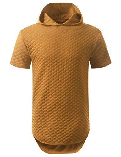 URBANCREWS Mens Hipster Hip Hop Quilted Short Sleeve Hoodie Shirt Timber, XL