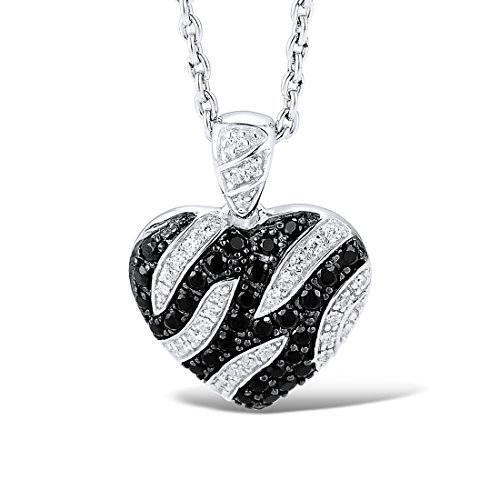 925 Sterling Silver Heart Shape Black Spinel White CZ Stone Pendant (Heart Spinel)