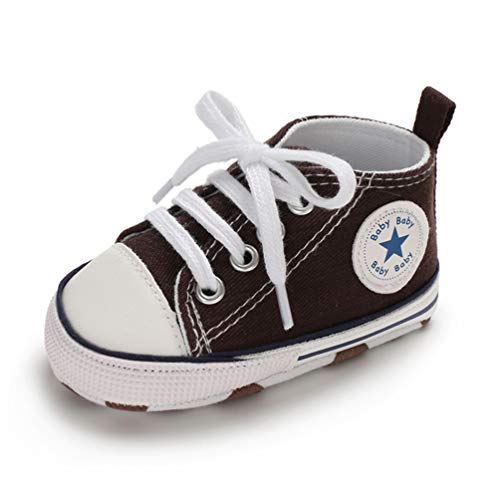 Crib Shoes Sneakers - Baby Boys Girls Canvas Shoes Basic Sneakers Lace Up Infant Newborn First Walker Prewalker Shoes(0-18 Months) (12-18 Months Toddler, A-Coffee)
