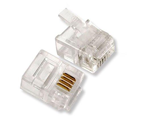 HTTX RJ9 Modular Phone Headset Connector, 4P4C Plug Jack Crimp for RJ9/RJ10/RJ22 Telephone Flat Cable/Cord Handset