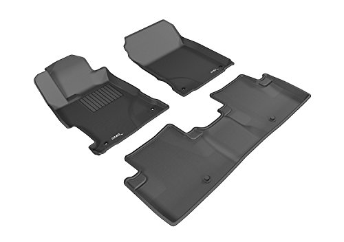 3D MAXpider Complete Set Custom Fit All-Weather Floor Mat for Select Acura ILX Models - Kagu Rubber (Black0