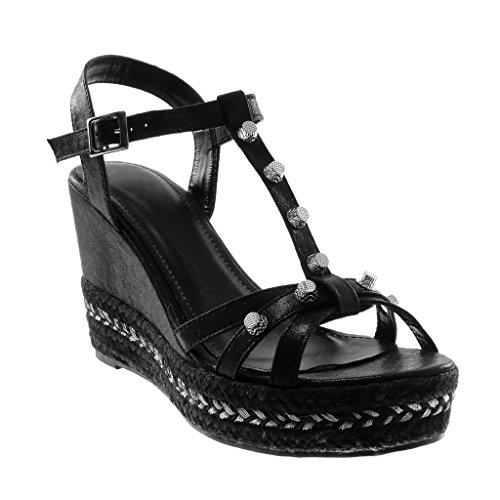 Zapatillas Tachonado Sandalias Mules Cm 5 De Correa Moda Cuerda Mujer Negro Tobillo Brillantes 9 Plataforma Angkorly 1zgxFUnU