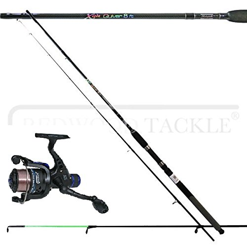 Shakespeare 8ft Xcede Quiver/Feeder Fishing Rod & Reel & Line Combo
