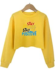 G-Amber Girls Crop Tops Sweatshirts Kids Cute Long Sleeve Printings Fashion Pullover Shirt
