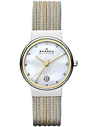 Women's 355SSGS Ancher Two Tone Silver and Gold Mesh Watch