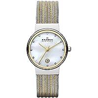 Skagen Women's 'White Label' Quartz Stainless Steel Dress Watch, Color:Silver-Toned (Model: 355SSGS)