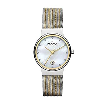 Skagen Women's 355SSGS Ancher Two Tone Silver and Gold Mesh Watch