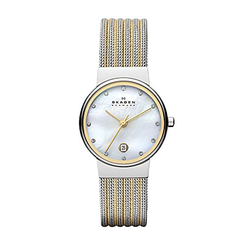 Silver Yellow Wrist Watch - Skagen Women's Ancher Quartz Two-Tone Stainless Steel Mesh Dress Watch, Color: Silver and Gold-Tone (Model: 355SSGS)