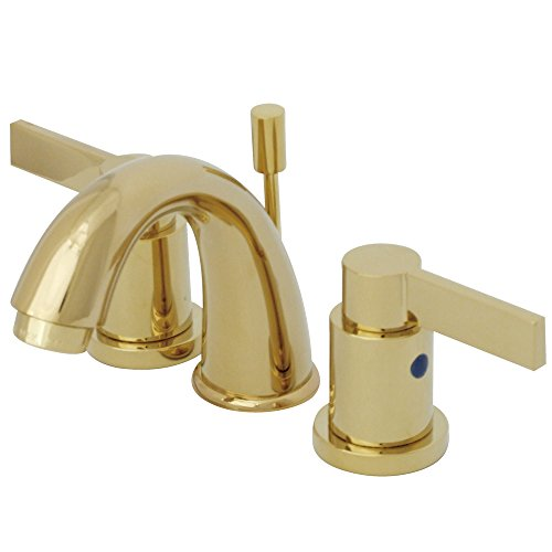 Kingston Brass KB8912NDL 3-3/4-Inch in Spout Reach NuvoFusion Goose Neck Spout Mini Widespread Lavatory Faucet with Brass Pop-Up, Polished Brass by Kingston Brass