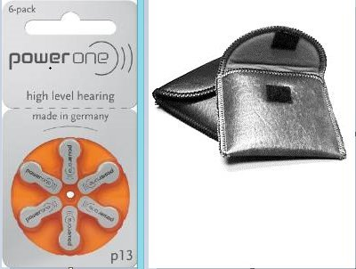 120 p13 Power One Hearing Aid Batteries includes FREE Hearing Aid Storage Pouch by Power One