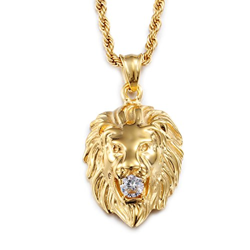 Fiery?Love Vintage Mens 18K Gold Plated Stainless Steel Lion King Zodiac of Leo Cubic Zircon Chain Pendant Necklace