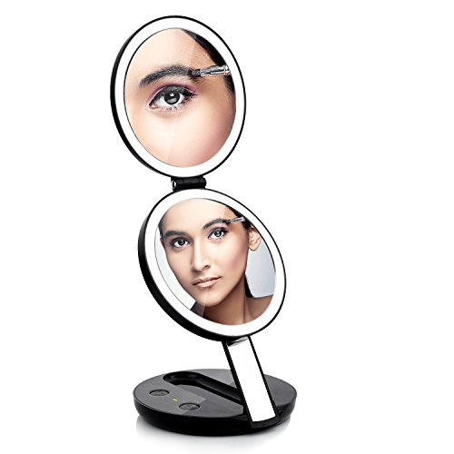 Lighted Travel Makeup Mirror, Butyface 1X and 7X Magnifying Makeup Mirror with Lights, Compact Folding Handheld Travel Mirror with LED Lights, Charging by Batteries or USB Plug in