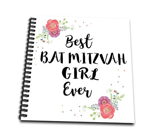 3dRose InspirationzStore - Love Series - Floral Best Bat Mitzvah Girl Ever pink flowers cute Batmitzvah Gift - Drawing Book 8 x 8 inch (db_316142_1)