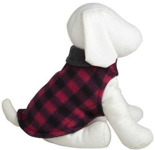 Worthy Dog Fleece Jacket – Pink Buffalo Plaid – Size 26, My Pet Supplies