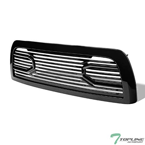 Topline Autopart Glossy Black Big Horn Style Front Hood Bumper Grill Grille ABS with Shell For 10-18 Dodge Ram 2500/3500 / 4500/5500 -