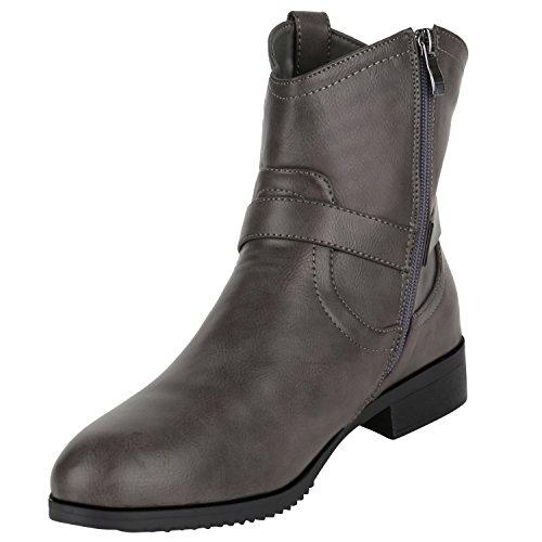 Stiefelparadies Ankle Boots Damen Schnallen Metallic Leder-Optik Stiefeletten Übergrößen Flandell Grau Nieten