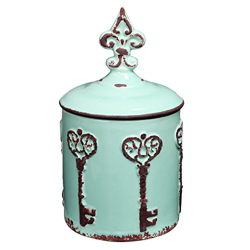 MyGift Vintage Style Key & Fleur de Lis Design Cyan Blue Ceramic Storage Canister/Lidded Cookie Jar by MyGift