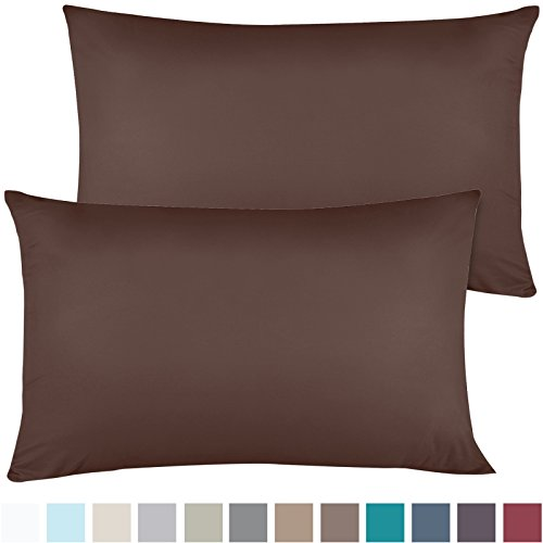 Empyrean Bedding Set of 2 Premium King-Size Pillowcases Microfiber Linen, Hypoallergenic & Breathable Design, Soft & Comfortable Hotel Luxury – Chocolate Brown