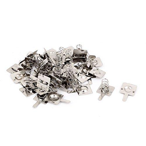 eDealMax 23 piezas de Metal de la batera AA Primavera ponerse en contacto Con la placa de Plata del tono