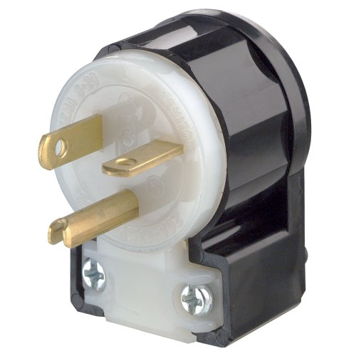 - Leviton 5366-CA 20 Amp, 125 Volt, Straight Blade, Plug, Industrial Grade, Grounding, Angle, Black-White