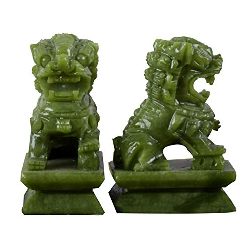 (A Pair of Stone Beijing Lions Pair Fu Foo Dogs Statues,Green Guardian,Chinese Feng Shui Decor,for Home and Office, Attract Wealth and Good Luck,Best Gift,Large)