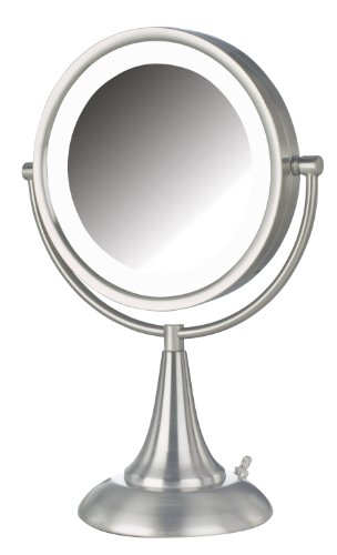 Jerdon HL8510NL 8.5-Inch Tabletop Two-Sided Swivel LED Lighted Vanity Mirror with 8x Magnification, Nickel Finish