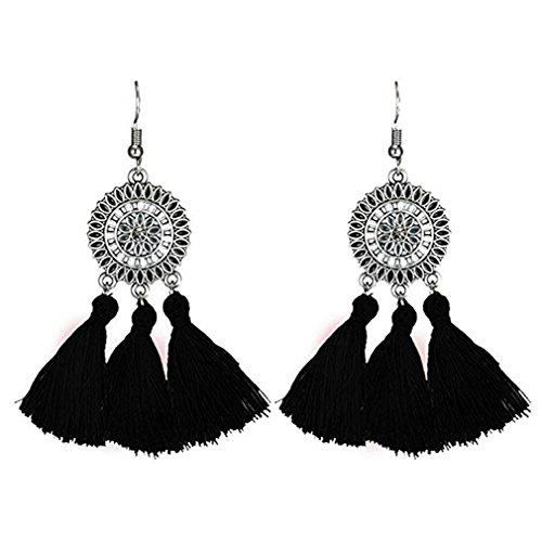 SOURBAN Bohemian Fringe Earrings Colorful Vintage Ethnic Sunflower Tassel Dangle Earring Eardrop,Black