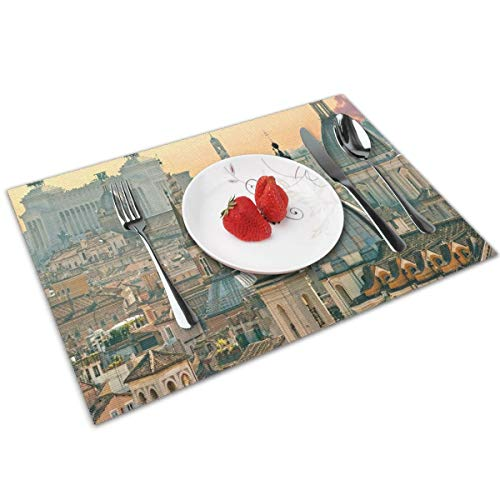 Pillow Towel View of Rome from Castel Sant'Angelo Italy Historical Landmark Vatican Placemats for Dining Table Set of 4,Washable Fabric Placemats for Dining Room Kitchen Table Decor
