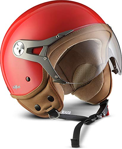 55-56cm MOTO H44 Italy /· Mofa Scooter-Helmet Cruiser Pilot Biker Vespa-Helmet Vintage Jet-Helmet Retro Bobber Chopper Moto-Helmet /· ECE certified /· incl Sun Visor /· incl Cloth Bag /· White /· S